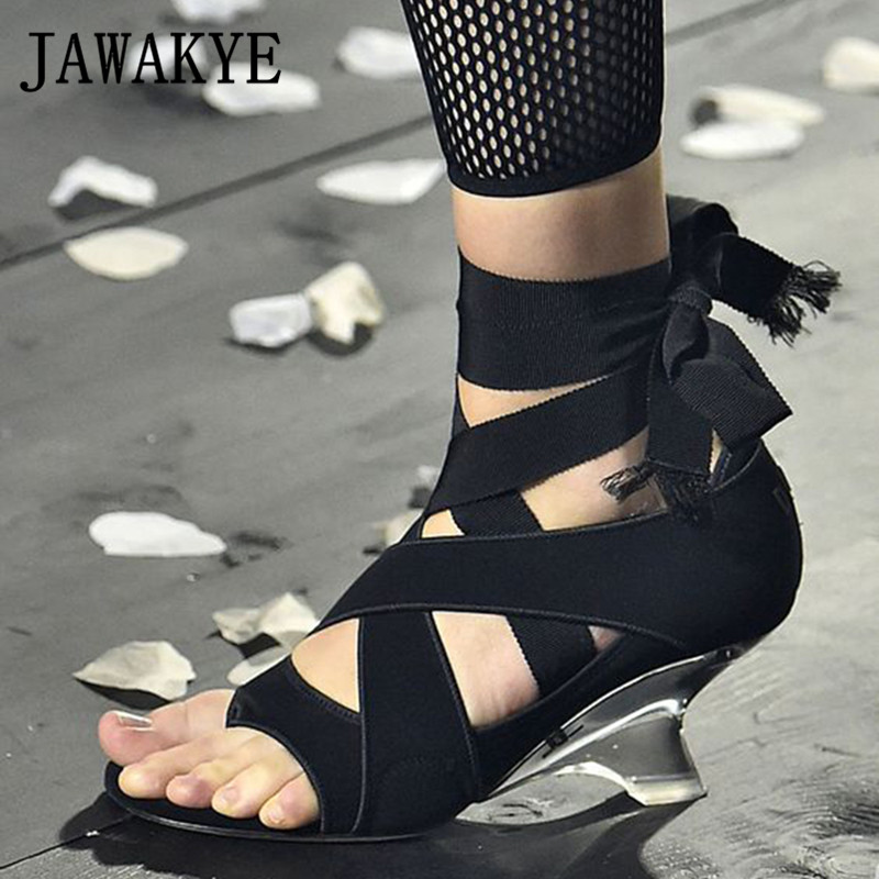 black Klar Kreuz Schuhe Party Sandalen Beige Kristall Runway Sandalia Feminina 2019 Ankle Frauen Strap Hoof Hochzeit Gebunden High Heels E8xqU14nS