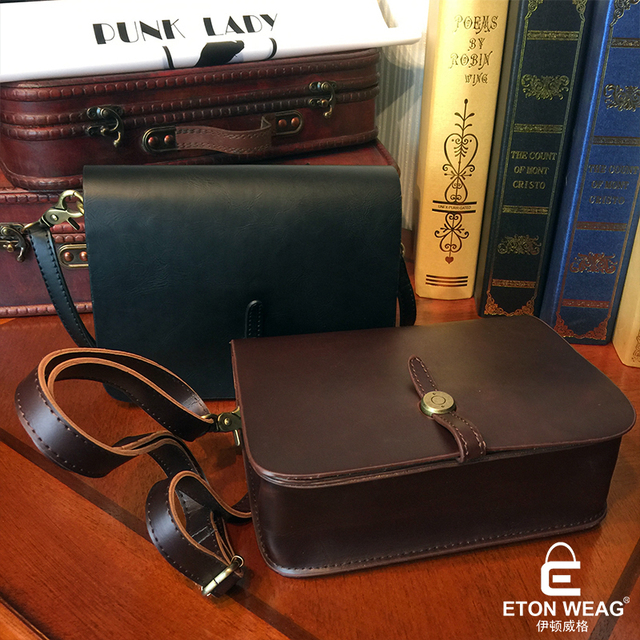 ETONWEAG Famous Brands Leather Messenger Bags For Women 2017 Brown Vintage Crossbody Shoulder Bag Lock Woman Designer Small Bag