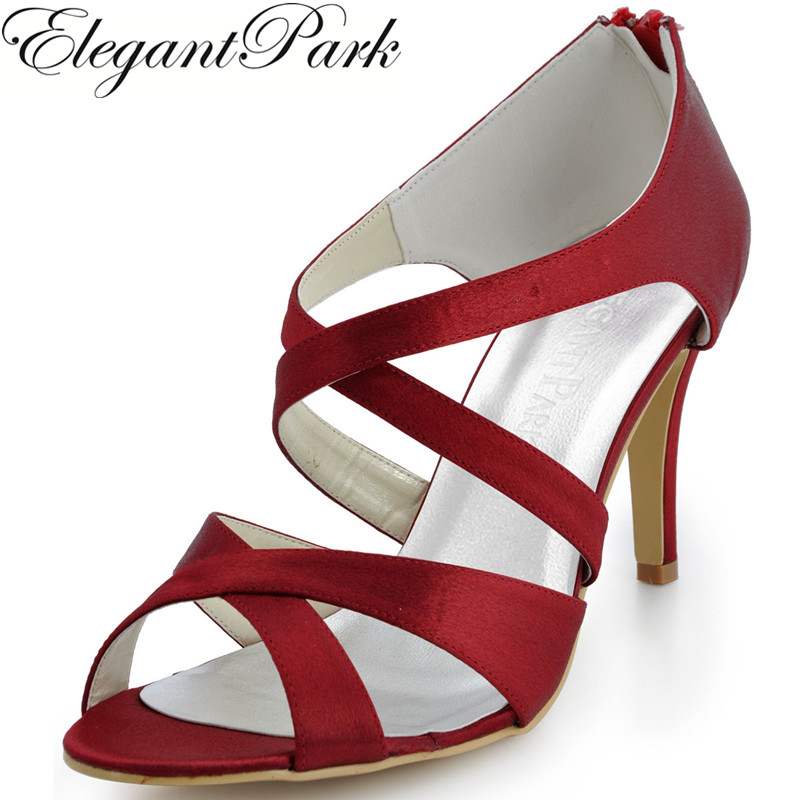Summer Woman Sandals Wedding EP2026 Ivory Burgundy Open Toe High Heel Cross  Strap Satin Bride Lady Bridesmaids Party Prom Shoes 4d2d794adc38
