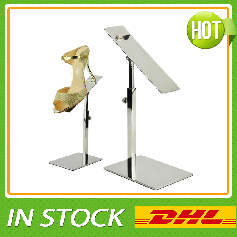 Free Shipping Metal Shine Silver Shoe Display Stands, Shoe Store - Home Storage and Organization