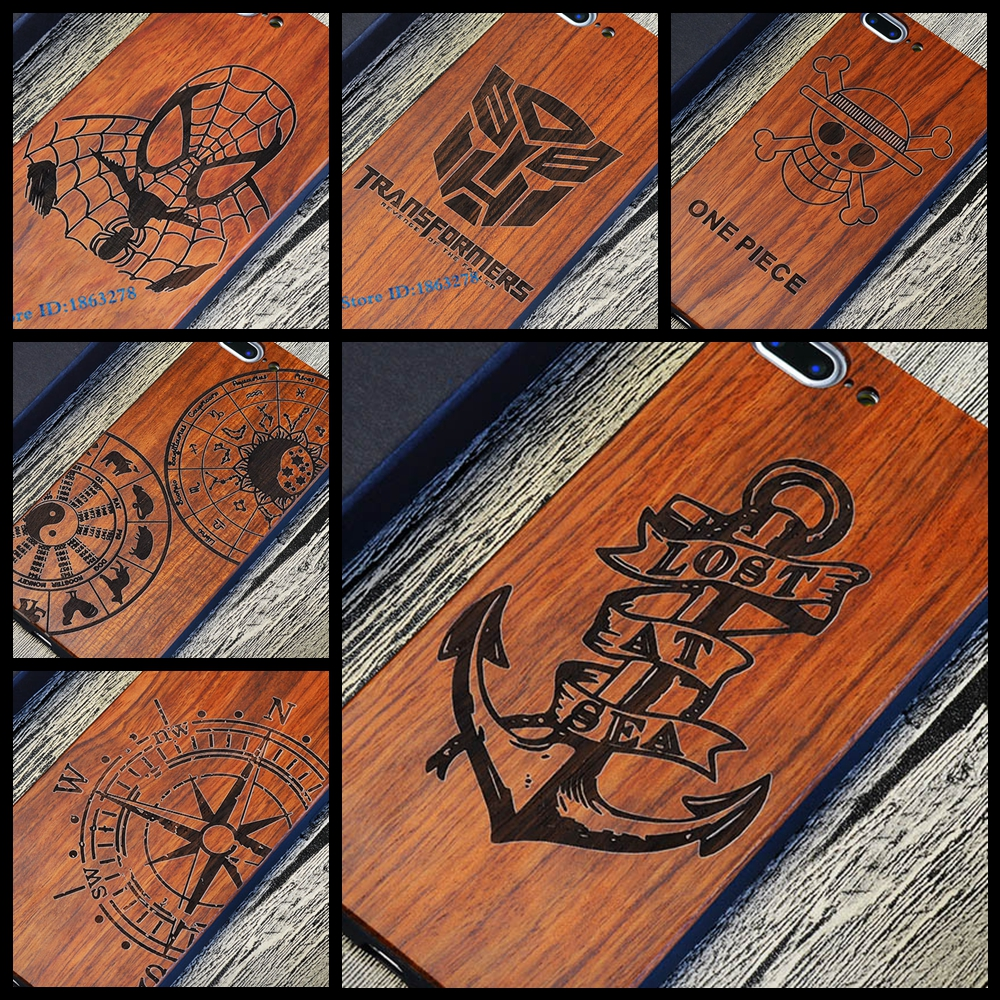 Lost At Sea Shockproof Thin Luxury Wood Phone Case For Iphone 5 5S 6 6S 6Plus 6S Plus 7 7Plus Anchor Pirate PC Back Wooden Cover