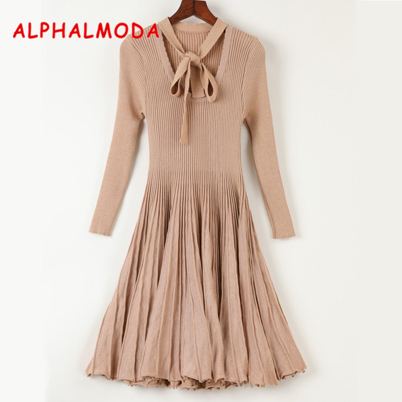 ALPHALMODA 2017 Womens Flounced Knitted Sparkling Dress Long-sleeved Bow Collar Slim Graceful Pleated Vestidos