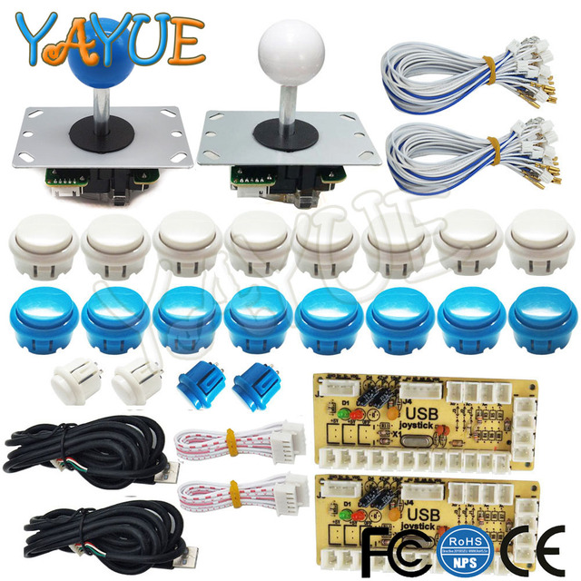 US $28 35 15% OFF|2 Player Arcade Game DIY Parts USB PC Joystick for Mame  Game DIY with Zero Delay USB Encoder 5pin Joystick and 20 Push Buttons-in