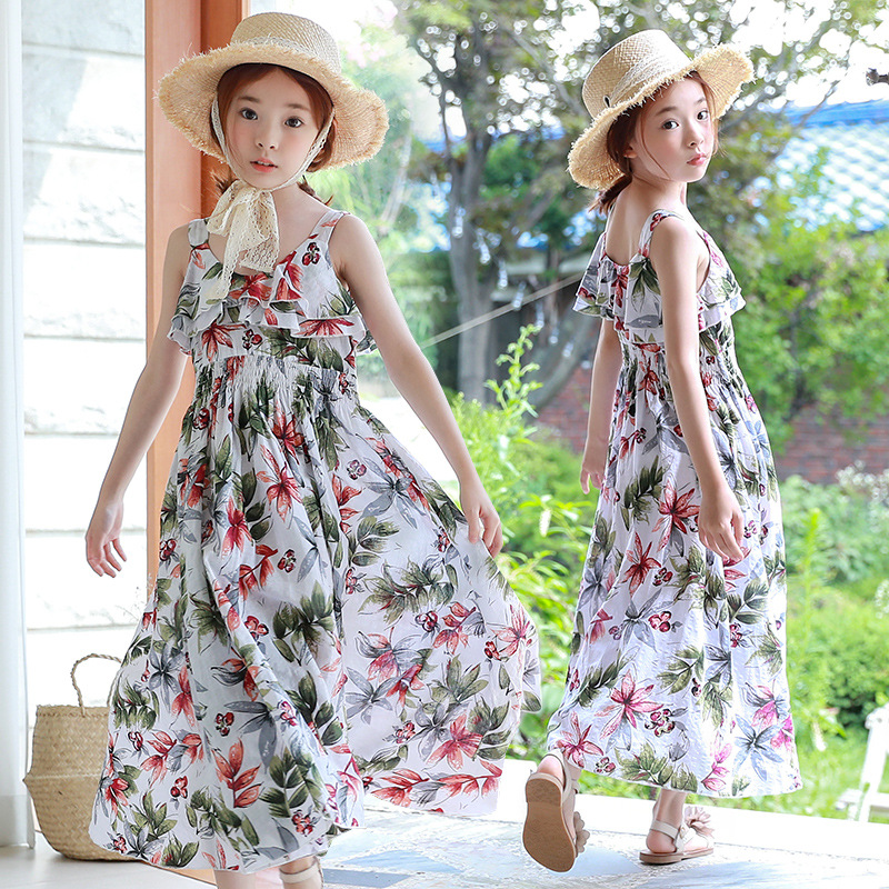 2018 Floral Summer Girls Dress Print Cotton Costume for Girls Children Beach Style Sleeveless Vestido Bohemian for Girls Dresses new summer style girls dresses fashion knee length beach dresses for girls sleeveless bohemian children sundress girls yellow 3t