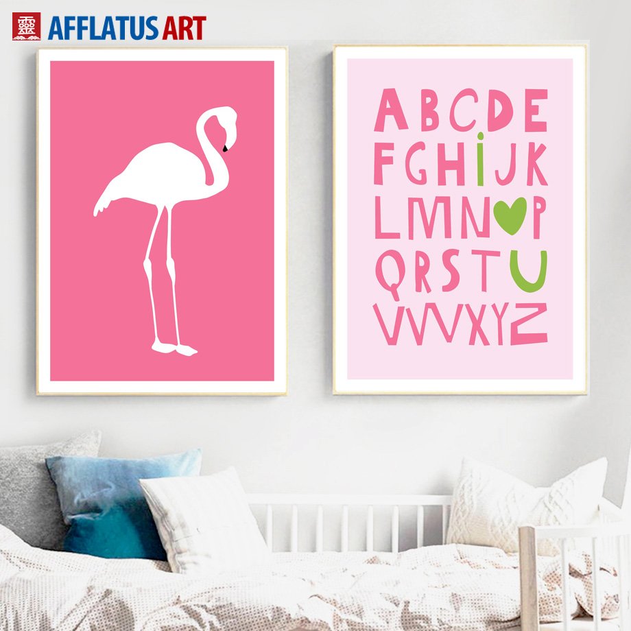 26 English Letters Flamingos Nordic Posters And Prints Wall Art Canvas Painting Animals Wall Pictures For Living Room Baby Decor in Painting Calligraphy from Home Garden