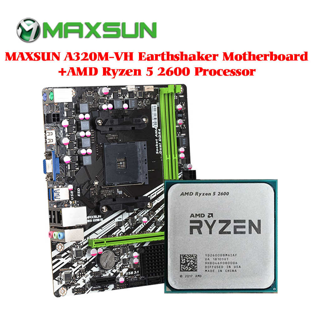 MAXSUN motherboard am4 A320M-VH Earthshaker+AMD Ryzen 5 2600 processor ram ddr4 memory SATAIII ssd PCI-E graphics card mainboard