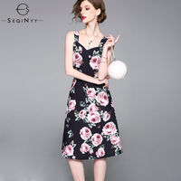 SEQINYY Fashion Printed Dress Speaghtti Strap 2018 High End Summer Ladies Elegant Slim Rose Flowers White / Black Runway Dress