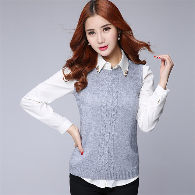 ALKMENE Casual New Fashion Women Autumn Spring Sleeveless Lacing Knitted Vest Sweater Female Pullover O-neck Top Cute Style