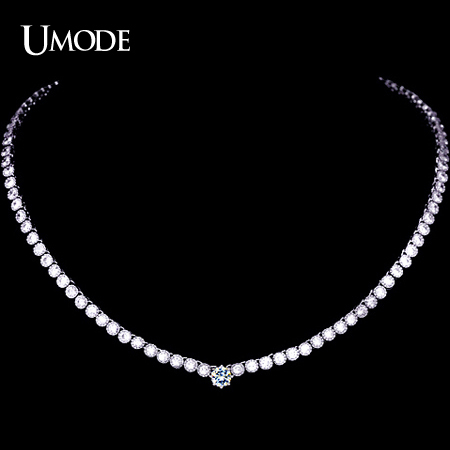 UMODE Female Pendant & Necklace with 102pcs 0.1 carat CZ & one 0.75 carat CZ in Center Fashion Necklace for Women UN0052 a suit of retro fake gem rhinestone leaf tassel necklace and earrings for women