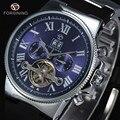 Hot Sale Luxury Brand Forsining Tourbillon Automático de Los Hombres Retro Promoción Vestido de Carcasa de Aleación de Reloj de pulsera Con la Banda de Caucho Negro