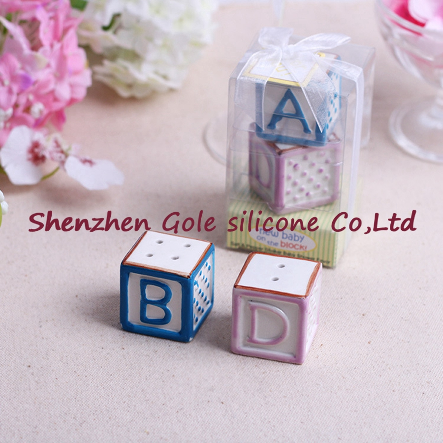 (50set=100pcs)+New Baby on the Block Ceramic Baby Blocks Salt and Pepper Shakers ABC Salt&Pepper Shaker