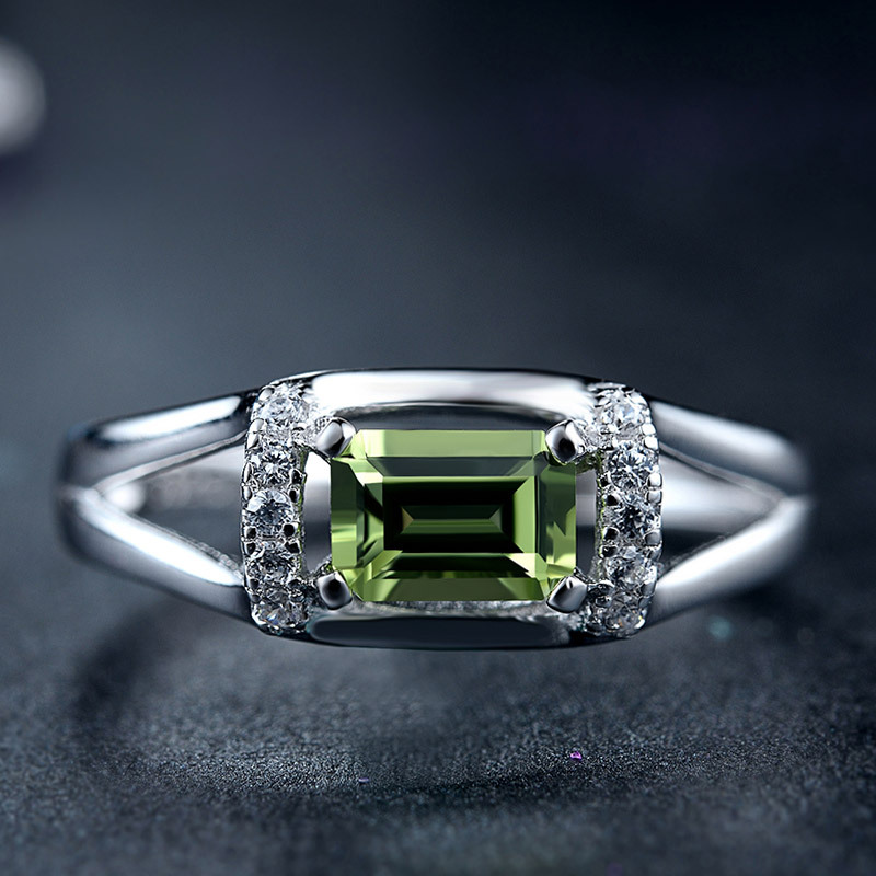 DOYUBO de luxe en argent massif Olivine pierre anneaux pour femmes et hommes taille réglable 925 en argent Sterling anneaux bijoux précieux VB051 - 2