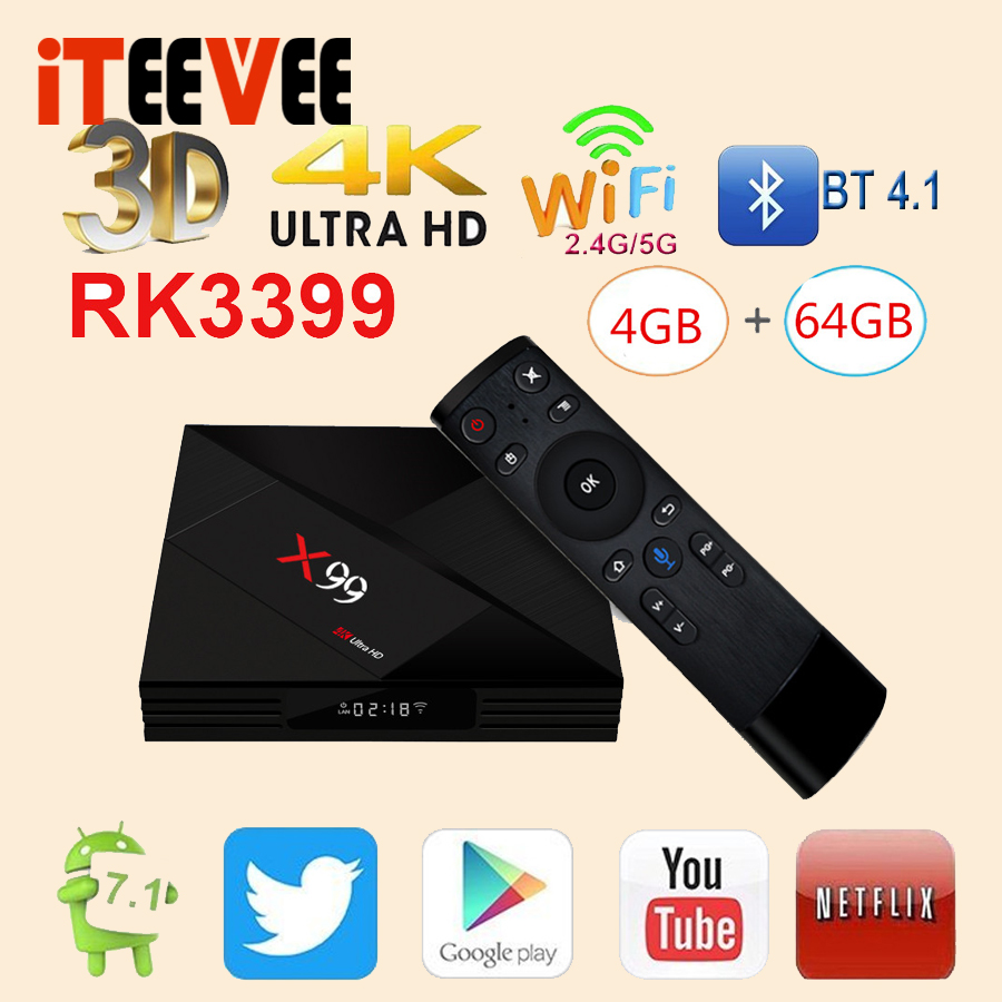 full stock 4GB 64GB Rockchip RK3399 Android 7 1 TV BOX X99 With Voice remote 2