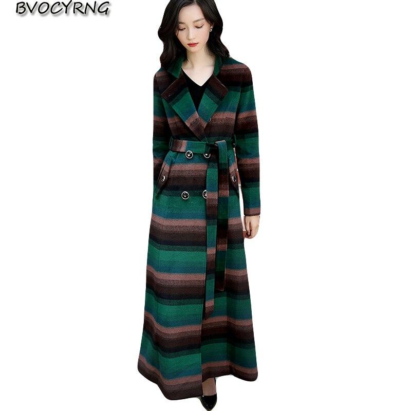 High quality thick woolen coat female 2018 new winter Europe and America warm wool coat super long Plaid woolen parka A1021