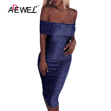 ADEWEL Blue Sparkling Fold Over Off Shoulder Bodycon Club Party Dress Sexy Sleeveless Sheath Knee Length Evening Gowns Dresses