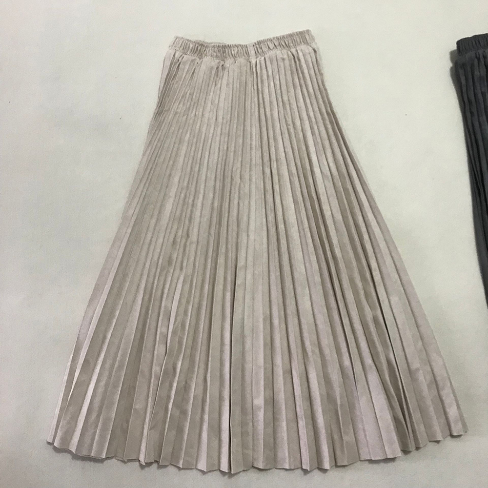 19 Two Layer Autumn Winter Women Suede Skirt Long Pleated Skirts Womens Saias Midi Faldas Vintage Women Midi Skirt 30