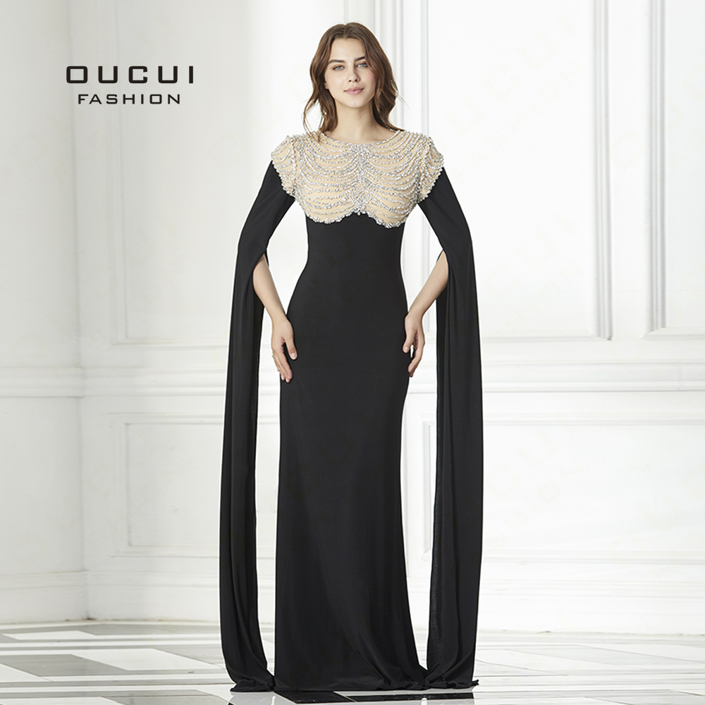Oucui Long Sleeves Evening Dress Party Shining Beading Handwork Long Formal Gown Bride Banquet Prom Dresses OL103127