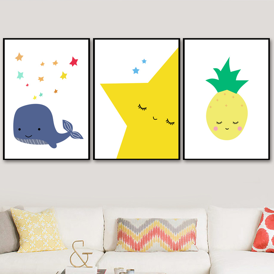 Yellow Star Pineapple Whale Wall Art Canvas Painting Nordic Posters ...