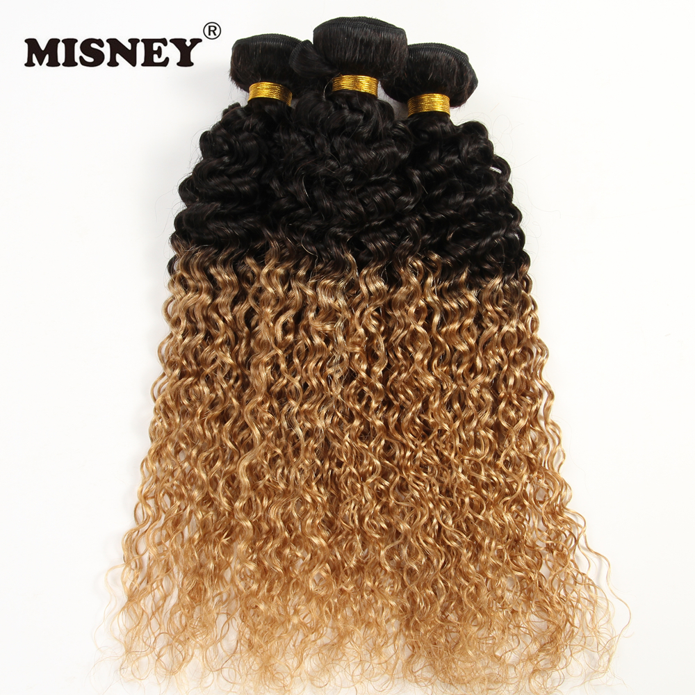 Unprocessed Ombre Human Hair Exension Jerry Curl T1B27 Two Tone 3 Bundles 100g/pc Hair Weaving Virgin Hair Weft