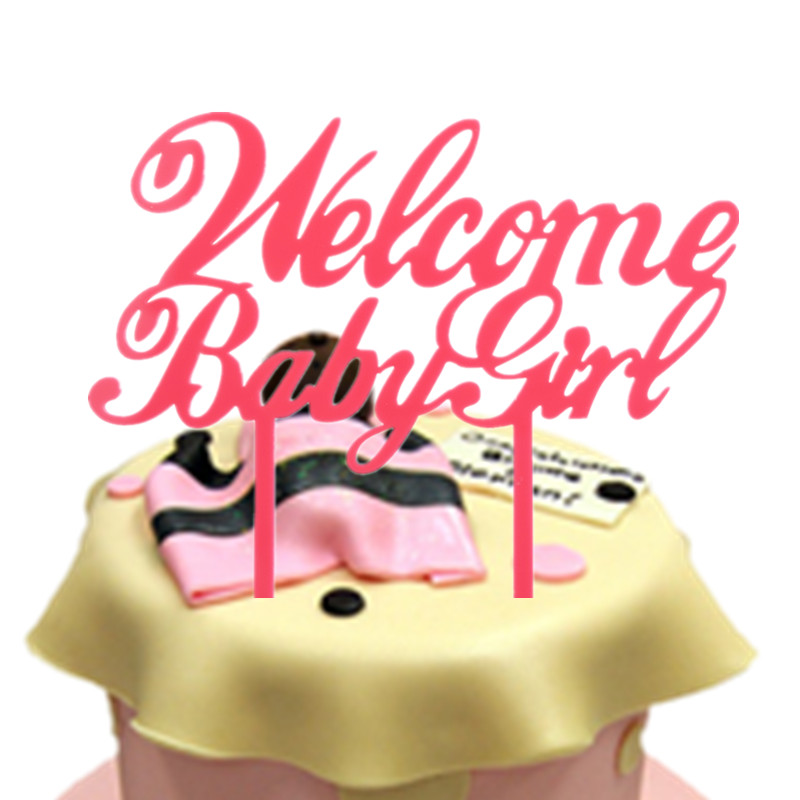1pc Welcome Baby Girl Birthday Cake Flags Pink Acrylic Happy Birthday Cake Toppers Newborn Baby