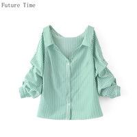 Future Time Cotton Stripe Long Sleeve Blouse Deep V Neck Loose Shirt Office Wear Female Puff