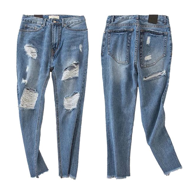 e0dc48df4e9 Mujeres Petite Extreme ripped Vaqueros moda apenada diseño no estiramiento  tobillo longitud Pantalones sexy ripped hip