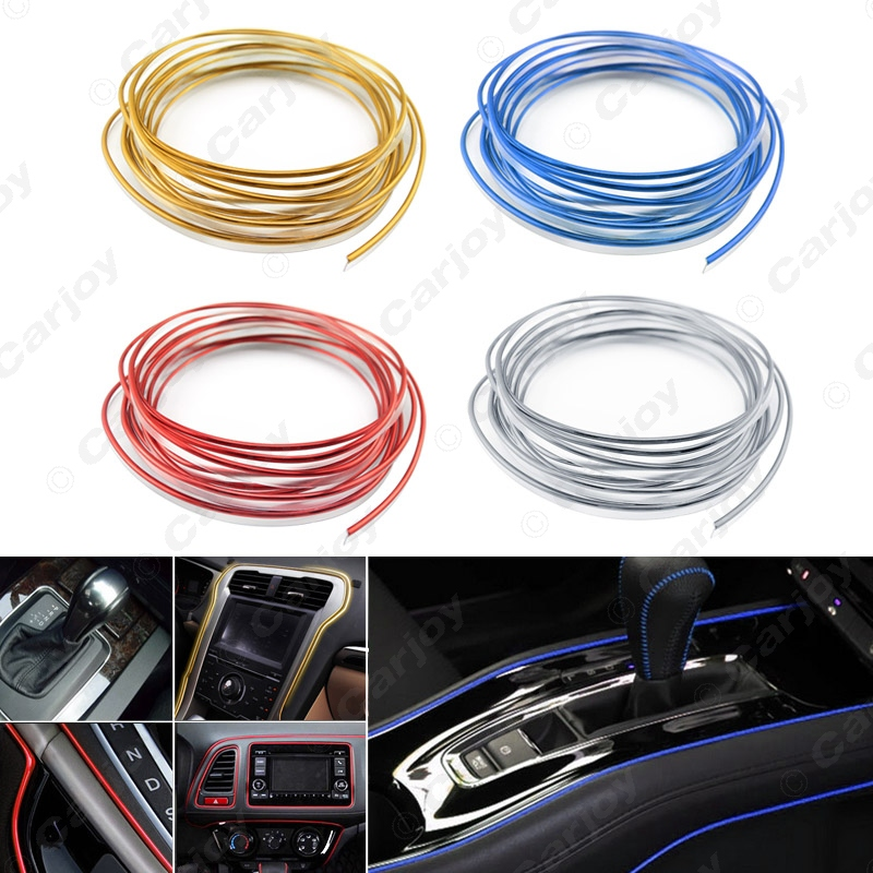 1pc red 5m diy car interior dashboard panel gap flexible embedded edge gap line point molding. Black Bedroom Furniture Sets. Home Design Ideas