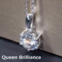 Queen Brilliance 5ctw F Color Lab Grown Moissanite Diamond Pendant Necklace Genuine 14K 585 White Gold
