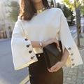 [Chicever] 2017 primavera manga flare dividir couro o-pescoço pulôveres senhora camisola das mulheres roupa nova moda