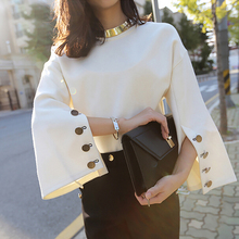 2018 Autumn Flare Sleeve Split O-neck Lady Female Tops