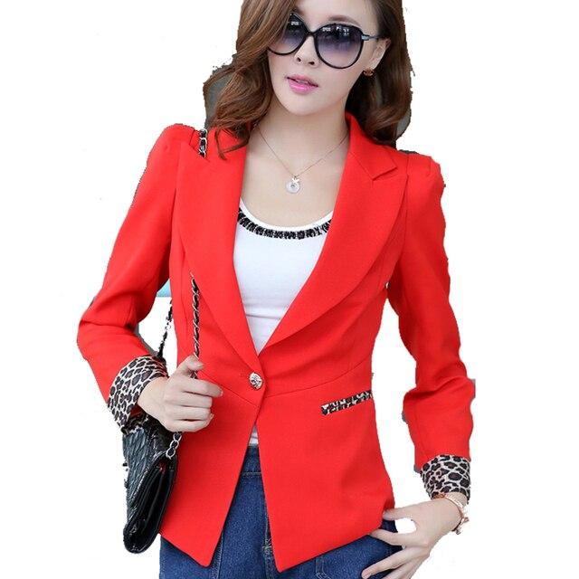 cfd619a8ef Plus Size New Arrival Blazer Feminino 2015 Women Blazers Casual Slim Red  Black Female Suit Coat Blaser Plus Size Women Clothing