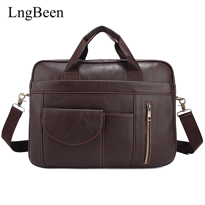 Lngbeen NEW Genuine Leather Coffee Men Briefcase Laptop Business Bag Cowhide Men's Messenger Bags Luxury Lawyer Handbags LB1116 2017 fashion genuine leather men briefcase cowhide men s messenger bags 15 6 laptop business bag luxury lawyer handbags li 1832