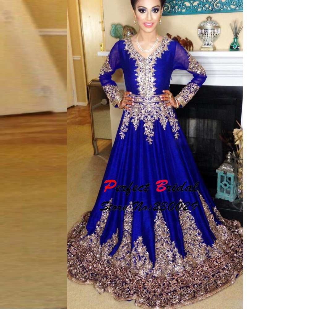 Stunning Royal Blue Beaded Muslim Evening Dresses 2016 Long Sleeves ...