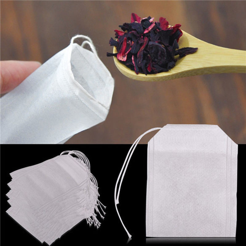 Teabags 100Pcs/Lot 10pc/lot Empty Tea Bags With String Heal Seal Filter Paper For Herb Loose Tea Infuser 5.5 X 7CM
