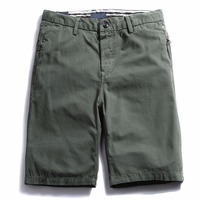 Men's Casual Straight-Fit Flat-Front Shorts  Knee Length Zipper Shorts