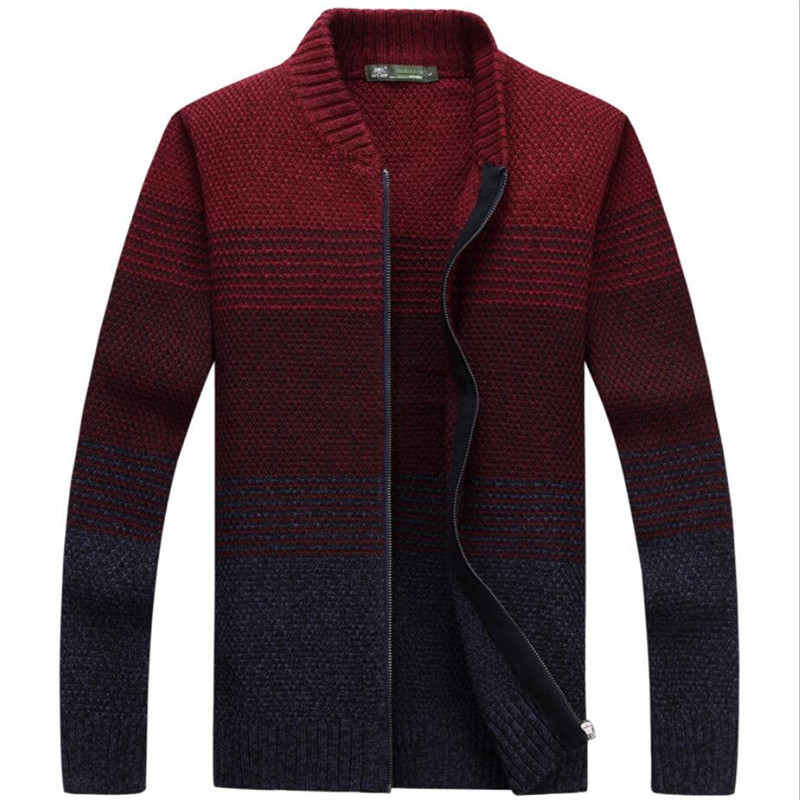AFS JEEP Fashion Design Man's Autumn O-Neck Full Sleeve Cardigan Knitted Sweater,Zipper Fly Mens Autumn Patchwork Color Kniited