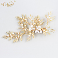 Bridal Barrettes Gold Leaf Women Wedding Prom Party Decoration Accessories Luxury Hair Ornament Pearl Hair Clip