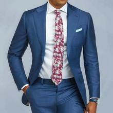 купить 2 pieces Blue Formal Men Suit Slim Fit Single Breast Mens Suits Bespoke Groom Tuxedo Blazer for Wedding Prom Jacket Pants terno по цене 3280.11 рублей