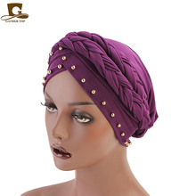 India Caps Turban Bandana New style braided headwrap African Point Drill Milk Silk Head Wrap Twist Hair Band Accessoires