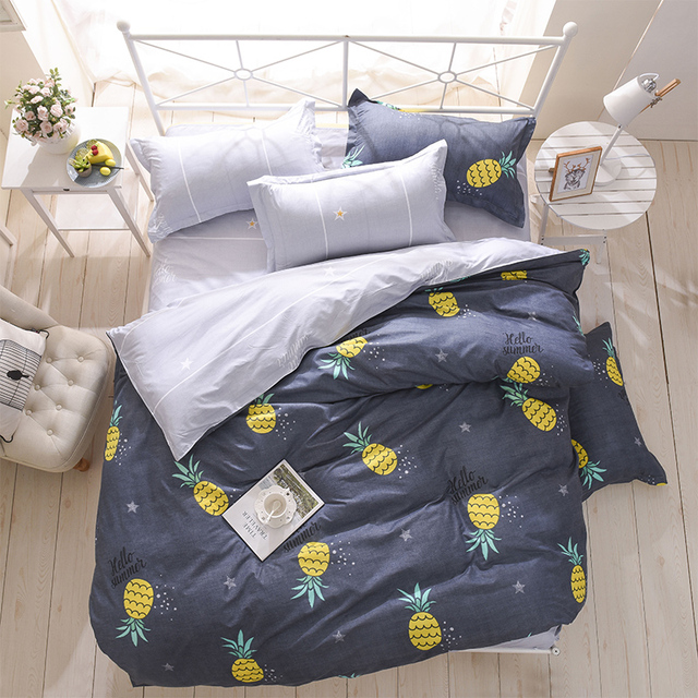 bedding set summer fruit duvet cover queen king Nordic style bedding bed linen grey flat sheet blue bedclothes super king bedset