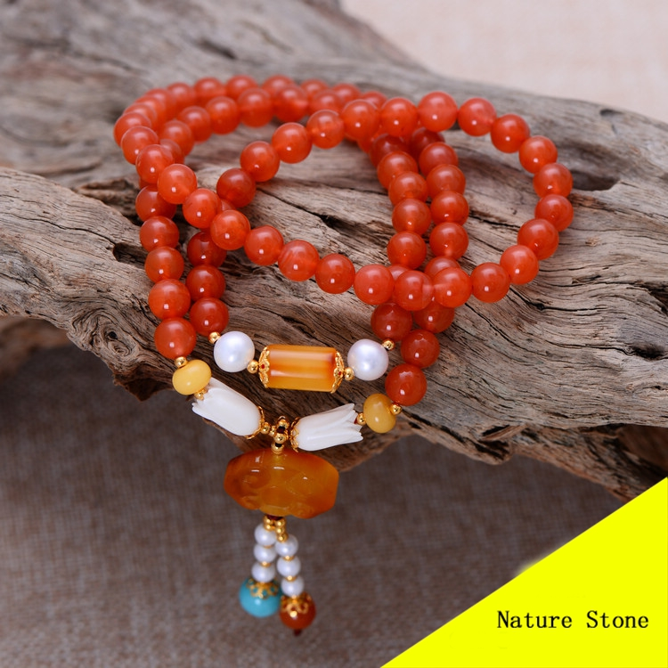 Fashion 6mm Cherry Red Southern Bracelet with Nature Beeswax Charm Women Gift Jewelry Single String Bracelet NH010 fashion 5mm red southern bracelet women gift jewelry three several string long bracelet nh012
