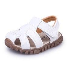 Cozulma летние для маленьких мальчиков; Детские пляжные сандалии для мальчиков туфли из мягкой кожи на нескользящей подошве с закрытым носком безопасная обувь для детей