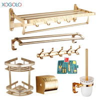 Xogolo Space Aluminum Luxury Gold Wall Mounted Bath Hardware Sets Toilet Brush Paper Towel Holder Bathroom Accessories