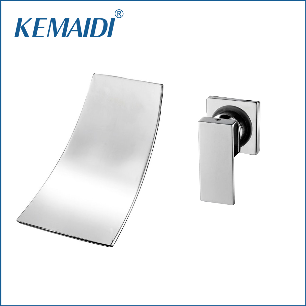 KEMAIDI New Design Wall Mounted Waterfall Spout Chrome Bathroom Basin Sink Faucet Single Handle Hot And Cold Mixer