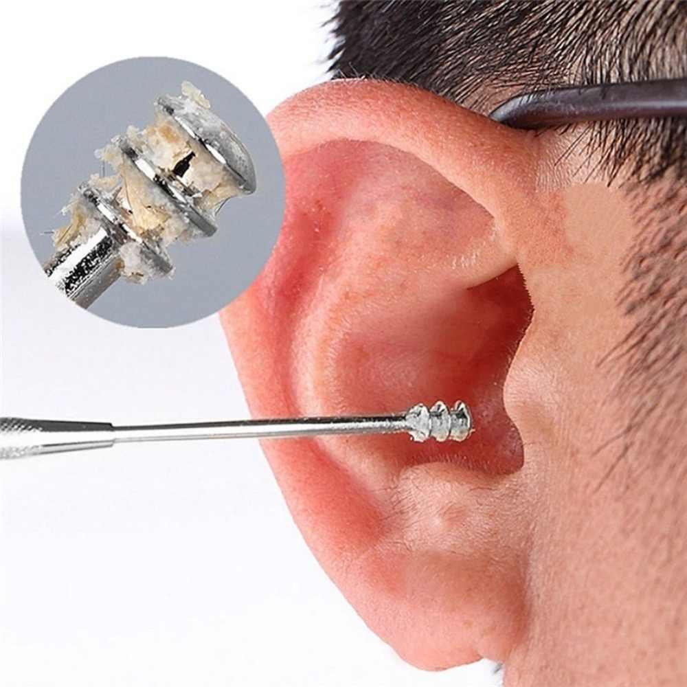 ポータブル両面スパイラル耳かき掘る耳キューレットツール掘削耳かきクリーナーツール耳のスプーン耳掃除用具