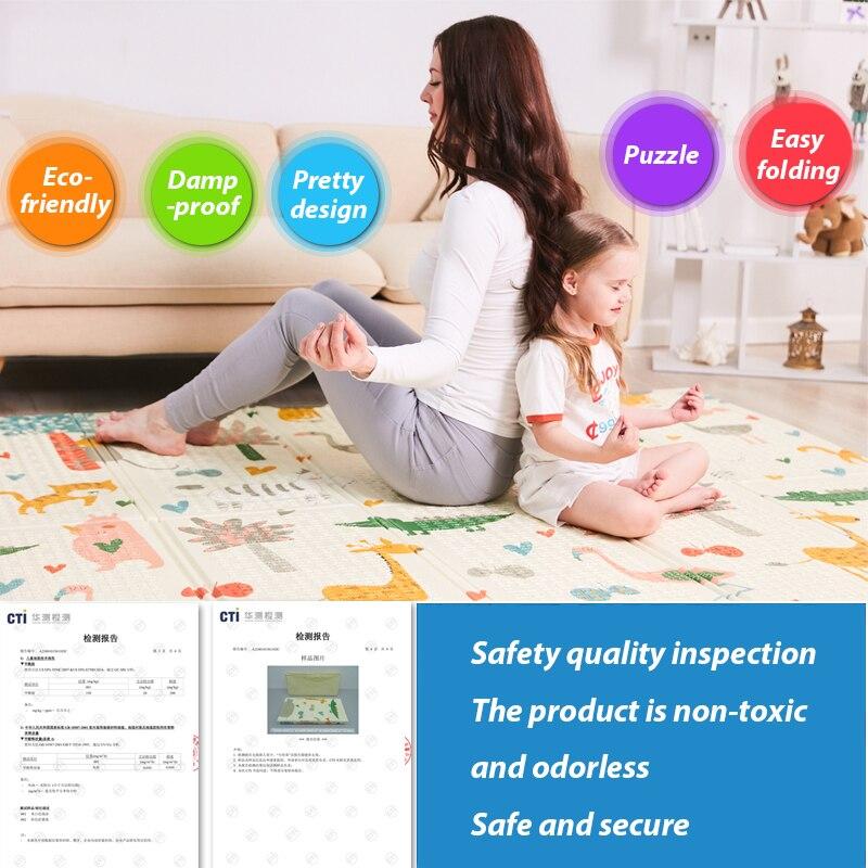 Infantile brillant 200*180*1 cm pliable bébé tapis de jeu écologique XPE enfants Playat Cartton tapis antidérapant tapis de salon - 2
