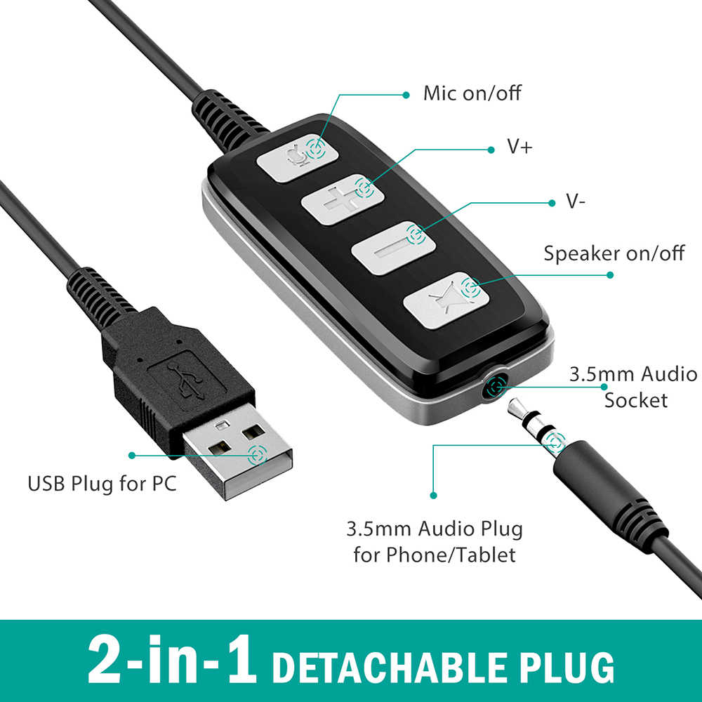 hight resolution of  original mpow hc2 3 5mm headset usb plug wired headphones earphone with micophone computer earbud for