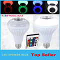 2016 falante Sem Fio bluetooth 12 W LED bulb Speaker Áudio E27 colorido da música jogando & Lighting Com 24 Teclas de controle remoto IR controle