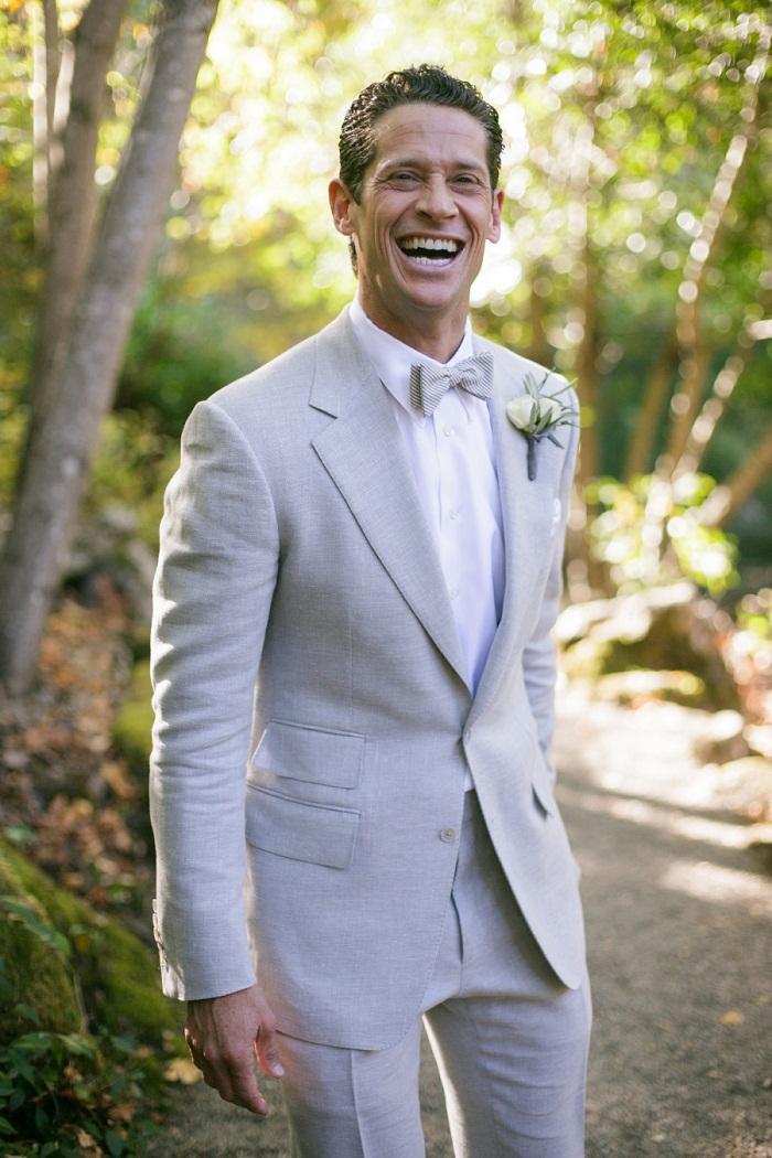 Latest Coat Pant Design Light Grey Linen Beach Wedding Men Suit ...