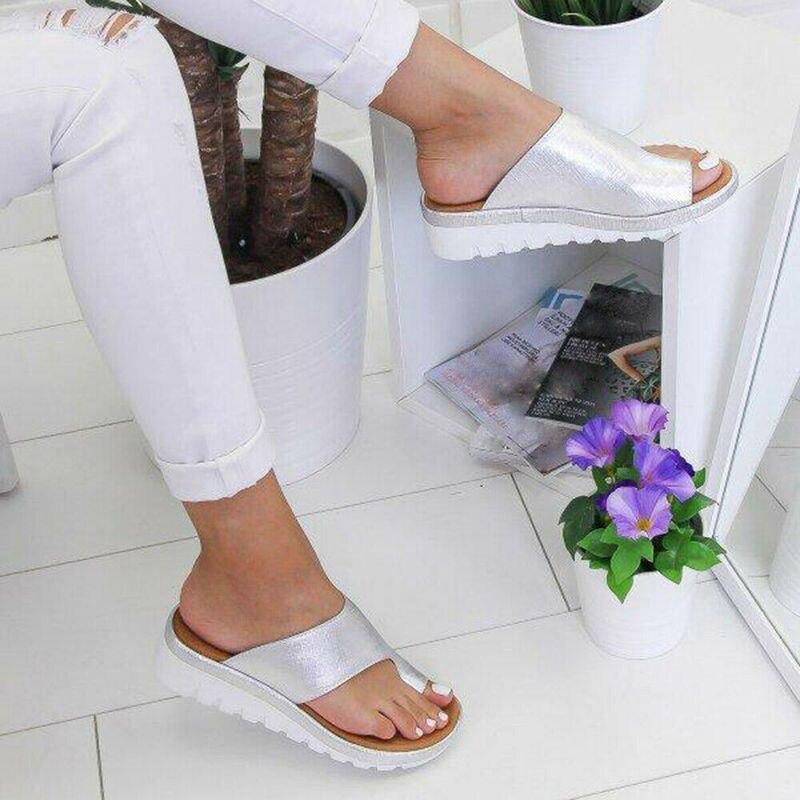 HTB1Qrk1cRKw3KVjSZTEq6AuRpXaD Women PU Leather Sandals Flip Flops Woman Shoes Platform Flat Sole Casual Orthopedic Bunion Corrector Ladies Foot Correction